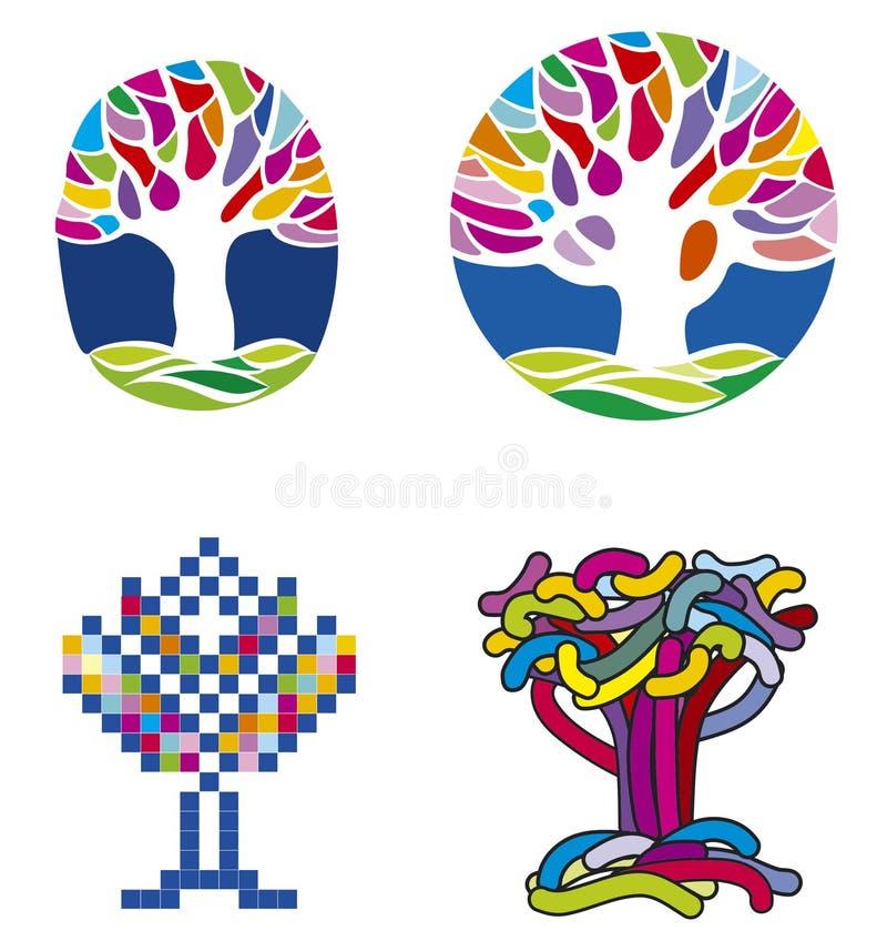 ställ in treen vektor illustrationer