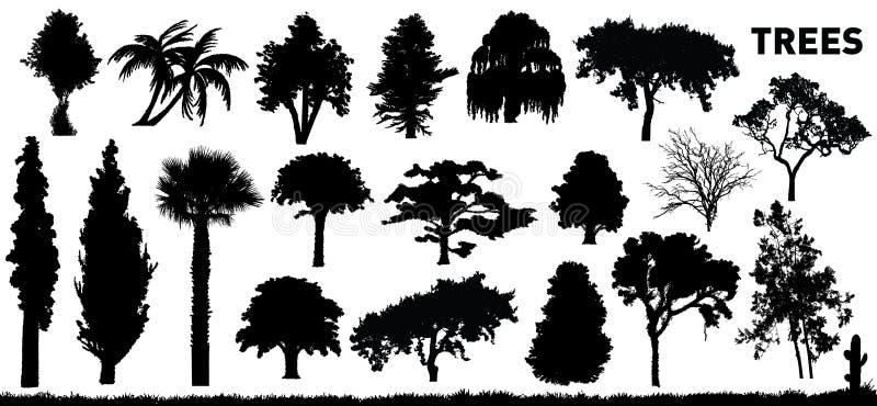 Ställ In Trees Arkivbild