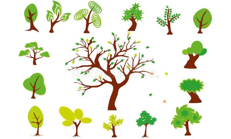 ställ in trees royaltyfria foton