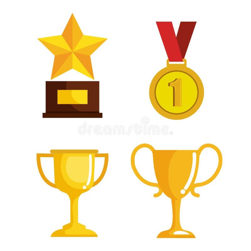 Ställ in trofékonkurrensutmärkelser vektor illustrationer