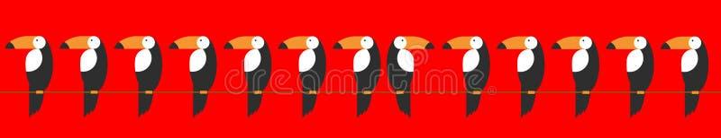 Ställ in tukanmodellen tropisk vektor för bakgrund Tukansymbol, tecknad filmillustration av tukanvektorsymbolen för rengöringsduk stock illustrationer