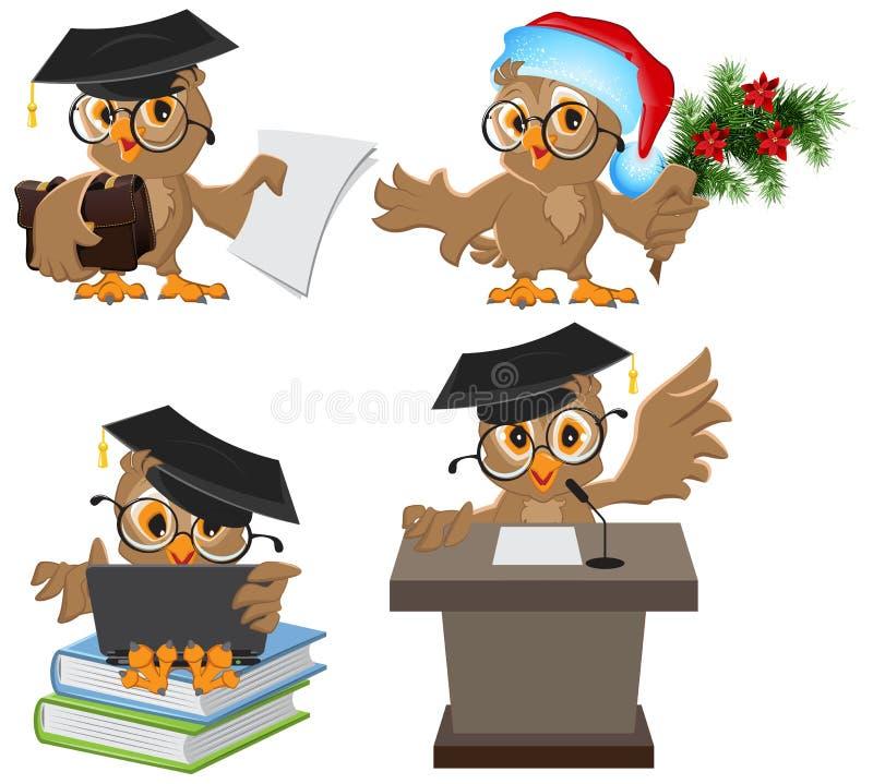 Ställ in ugglan i akademikermössa stock illustrationer