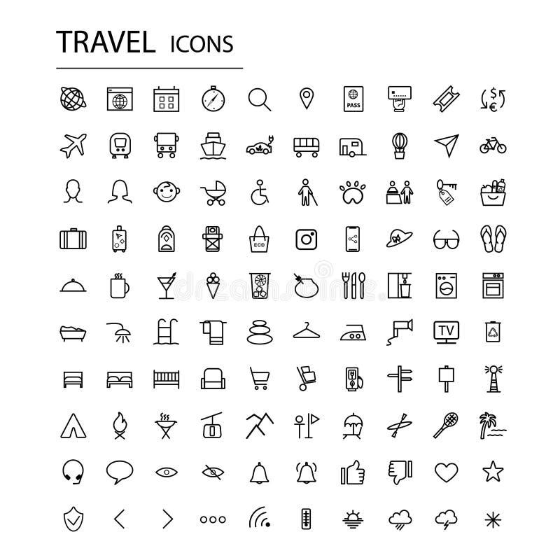 Ställ in universella loppsymboler Moderna turismsymboler royaltyfri illustrationer