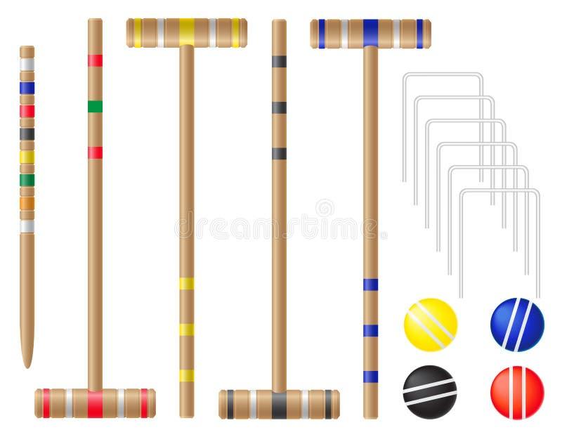 Ställ in utrustning för krocketvektorillustration vektor illustrationer