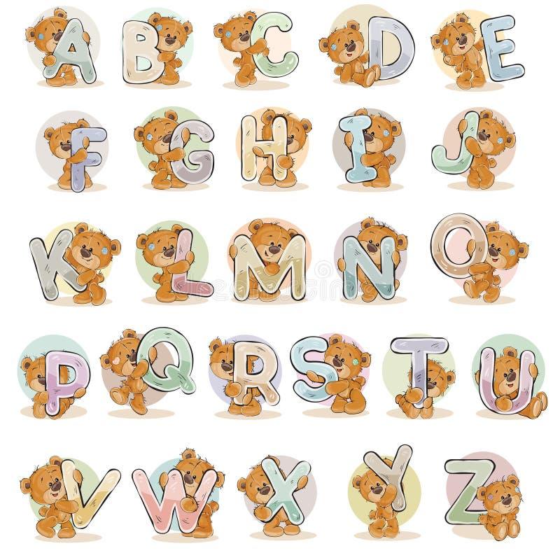 Ställ in vektorbokstäver av det engelska alfabetet med den roliga nallebjörnen royaltyfri illustrationer