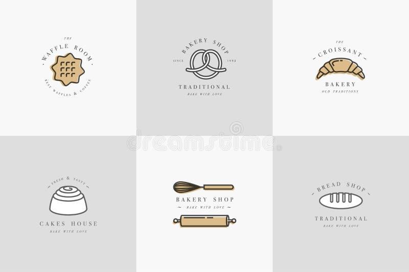 Ställ in vektordesignmallar och emblem - muffin, munk och baka symbolen för bageri shoppar shoppa sött stock illustrationer