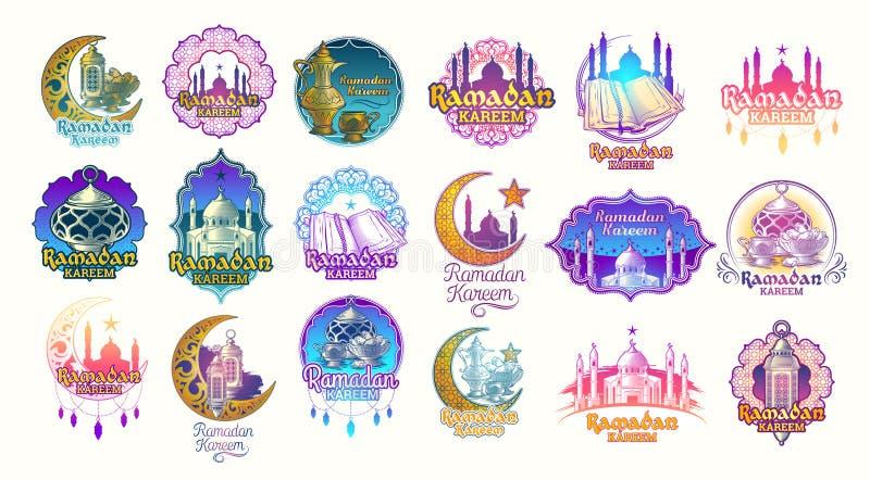 Ställ in vektorfärgillustrationer, emblem, emblem för Ramadan Kareem stock illustrationer