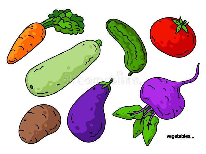 ställ in vektorgrönsaker Härlig illustration av grönsaker aubergine, tomat, potatis, zucchini, morot, gurka stock illustrationer