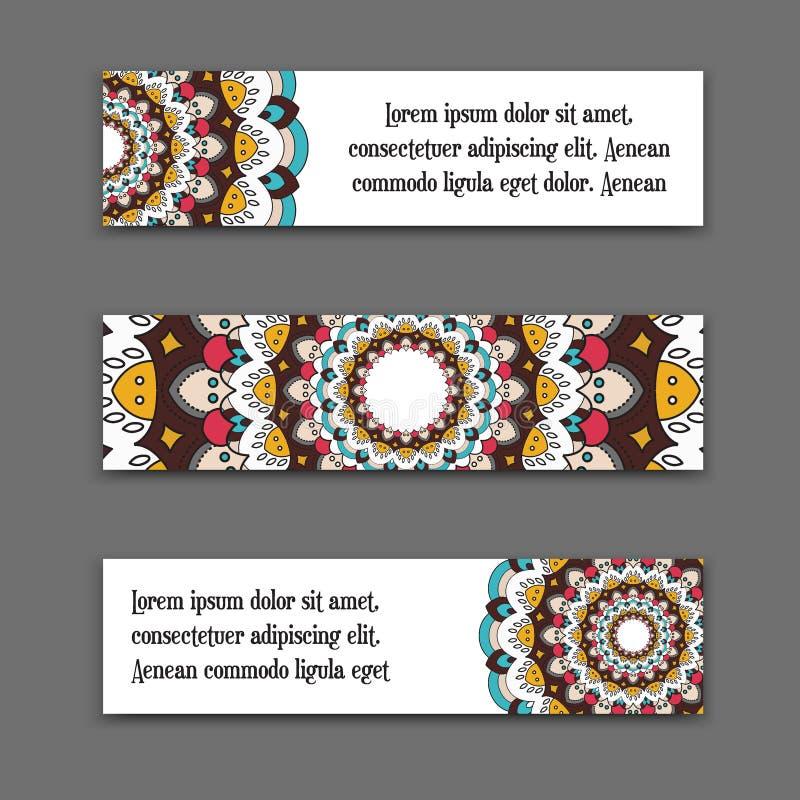 Ställ in vektorhorisontalbaner med den färgrika mandalaen Den nationella samlingen av titelrader för platsen Islam arabiska royaltyfri illustrationer