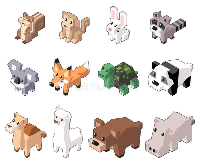 Ställ in vektorillustrationen av gulliga isometriska djur arkivfoton