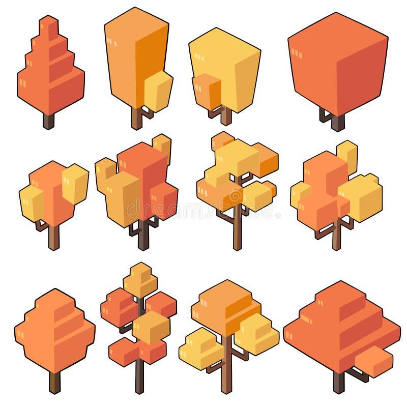 Ställ in vektorillustrationer av höstträdet i minsta isometrisk design arkivfoton