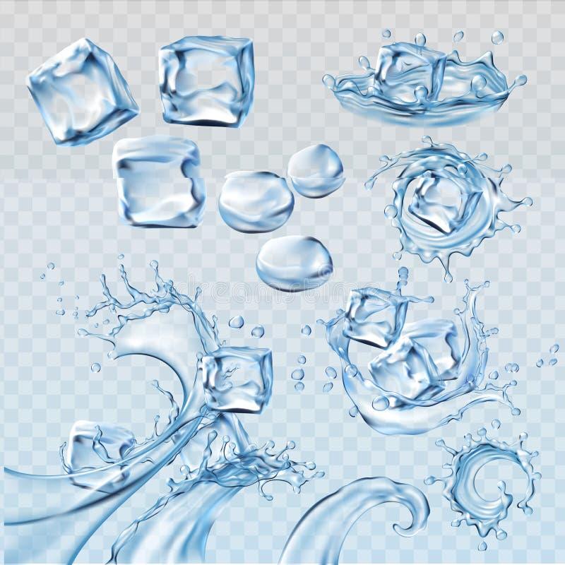Ställ in vektorillustrationer som vatten plaskar och flödar med iskuber stock illustrationer