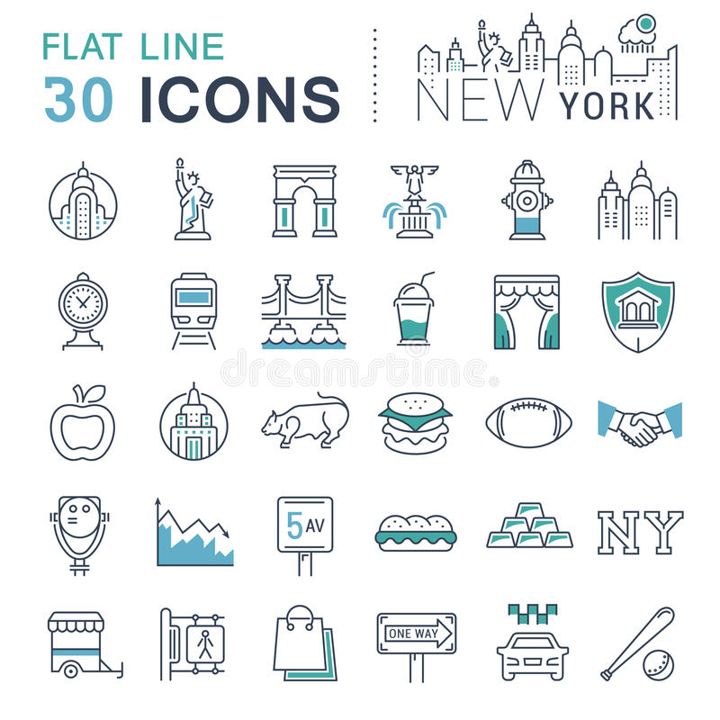 Ställ in vektorlägenhetlinjen symboler New York royaltyfri illustrationer
