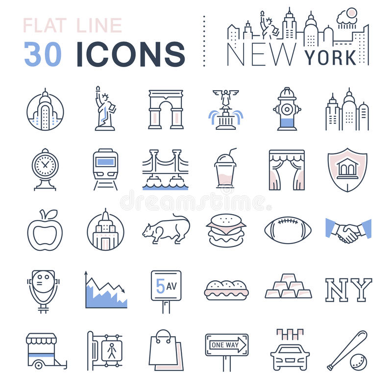 Ställ in vektorlägenhetlinjen symboler New York och USA stock illustrationer