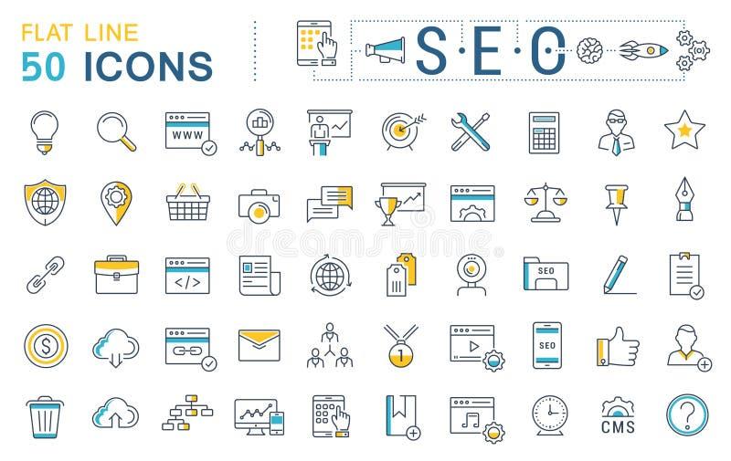 Ställ in vektorlägenhetlinjen symboler SEO stock illustrationer