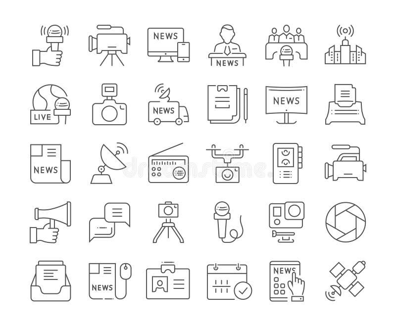 Ställ in vektorlägenhetlinjen symbolsjournalistik royaltyfri illustrationer