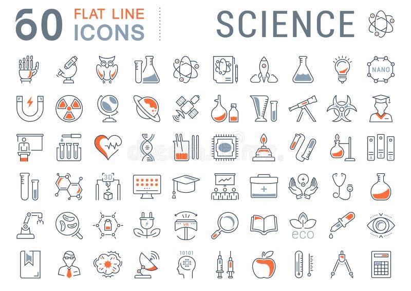 Ställ in vektorlägenhetlinjen symbolsvetenskap vektor illustrationer