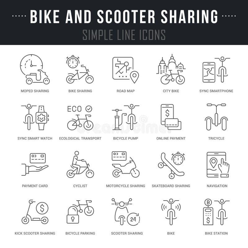 Ställ in vektorlinjen symboler av att dela för cykel och för sparkcykel stock illustrationer