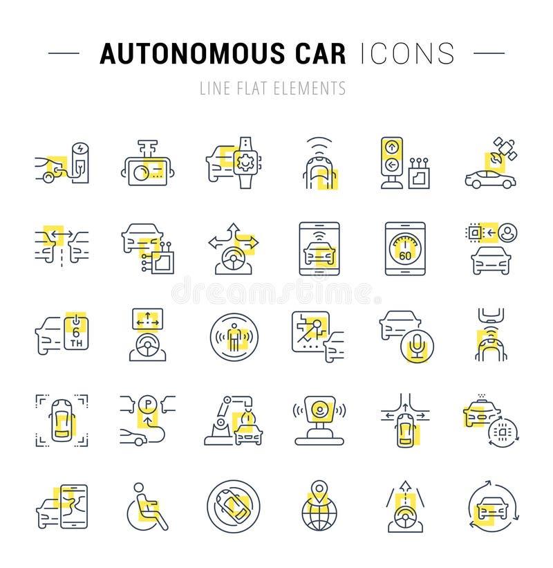 Ställ in vektorlinjen symboler av den autonoma bilen vektor illustrationer