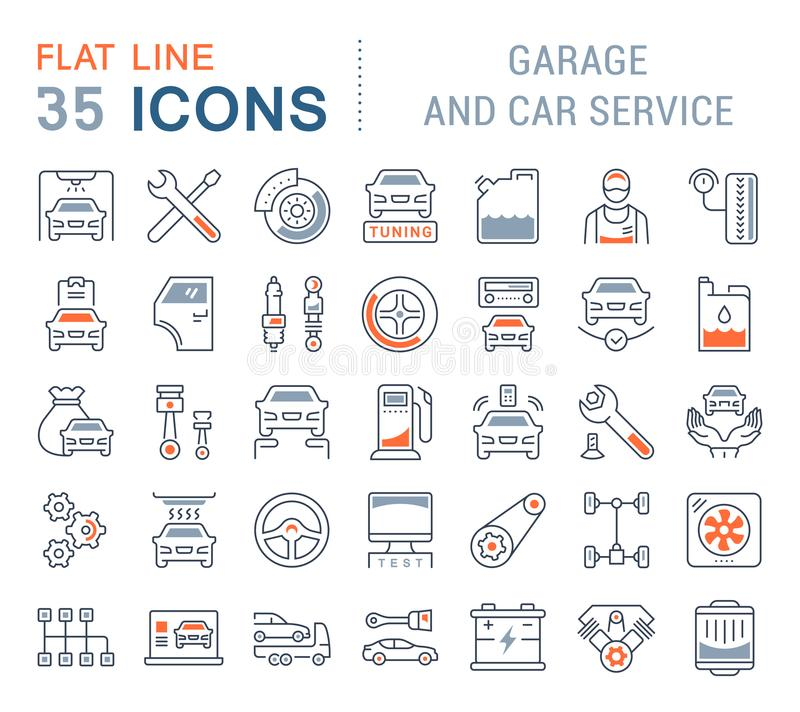 Ställ in vektorlinjen symboler av garage- och bilservice stock illustrationer