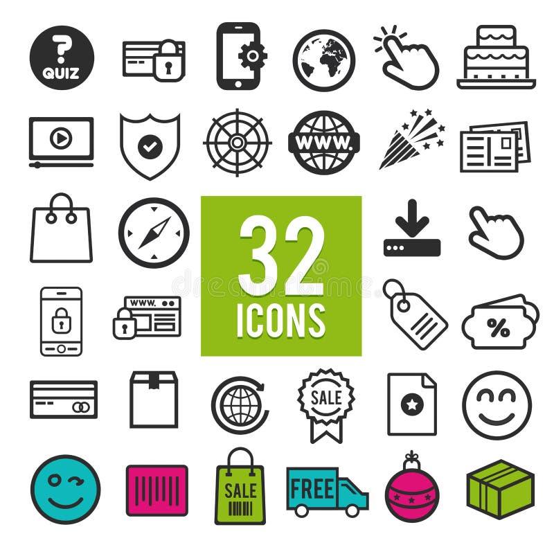Ställ in vektorlinjen symboler i plan design med beståndsdelar för mobila begrepp och rengöringsdukapps Modern infographic logo o stock illustrationer
