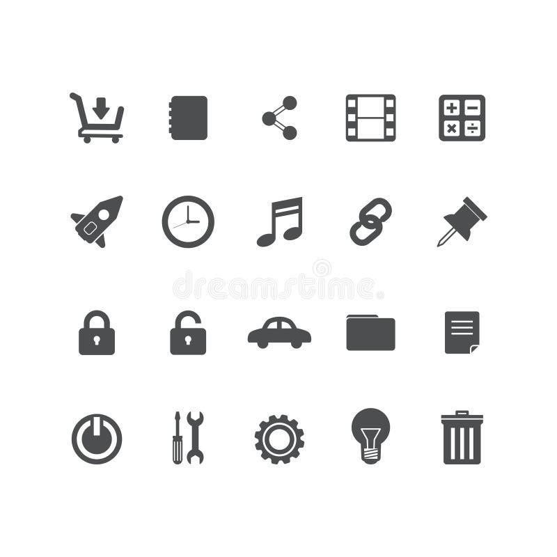Ställ in vektorlinjen symboler i plant designkontor och affären med beståndsdelar för mobila begrepp och rengöringsdukapps Modern stock illustrationer