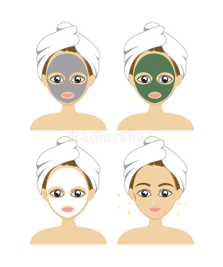 Ställ in vektorn av en härlig kvinna med en ansikts- omsorgmaskering Begreppsbrunnsort vektor illustrationer