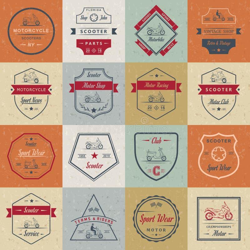Ställ in vektortappningtecknet och logosparkcykeln royaltyfri illustrationer