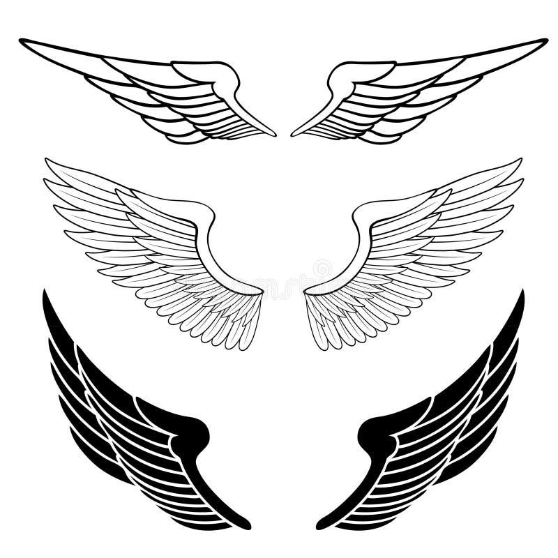 ställ in vingar vektor illustrationer