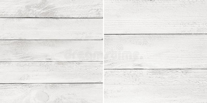 Ställ in vit målade träplankor, tabletopen, yttersida för parkettgolv fotografering för bildbyråer