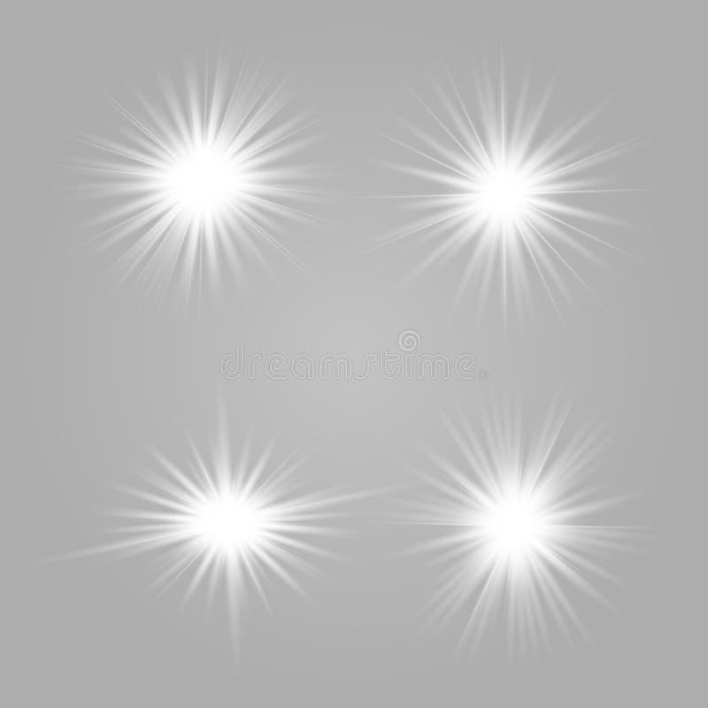 Ställ in vita ljusa härliga stjärnor stock illustrationer