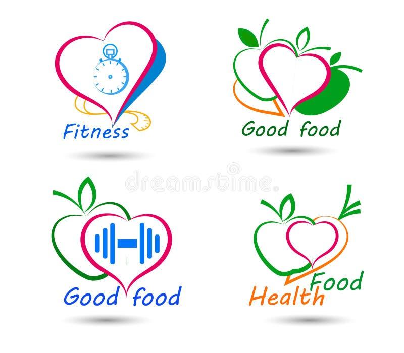Ställ in wellnesssymboler Sund mat och kondition royaltyfri illustrationer