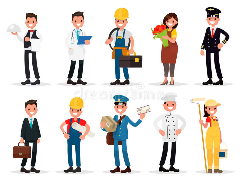 Ställ in yrken: uppassare doktor, elektriker, blomsterhandlare, pilot, affärsman, tekniker, brevbärare, kock, målare Vektorillust stock illustrationer