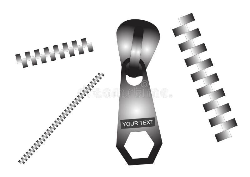ställ in zippers vektor illustrationer