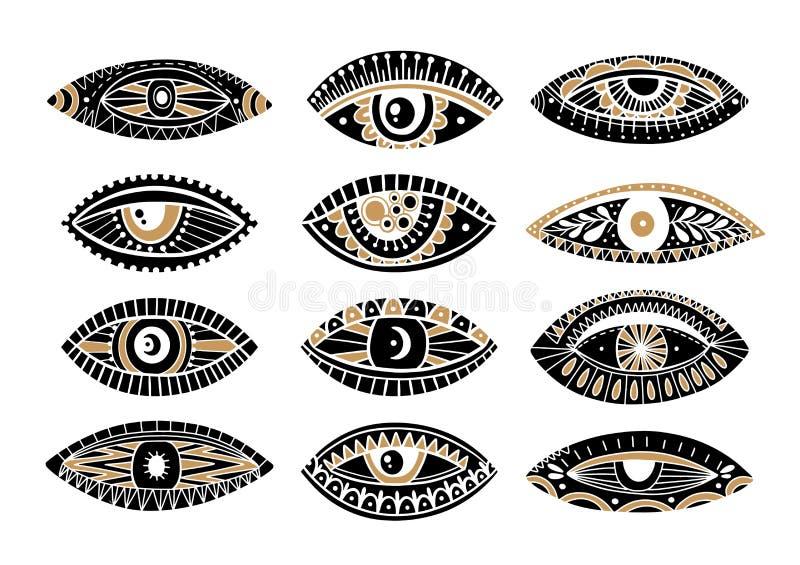 Ställa in ögon i mystisk hand Occult mystic emblem Evil Seeing-ögonsymbol naiv uppsättning stock illustrationer