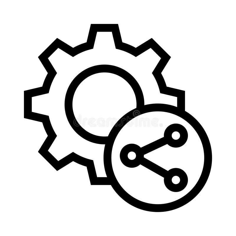 Ställa in att dela vektorlinjen symbol royaltyfri illustrationer