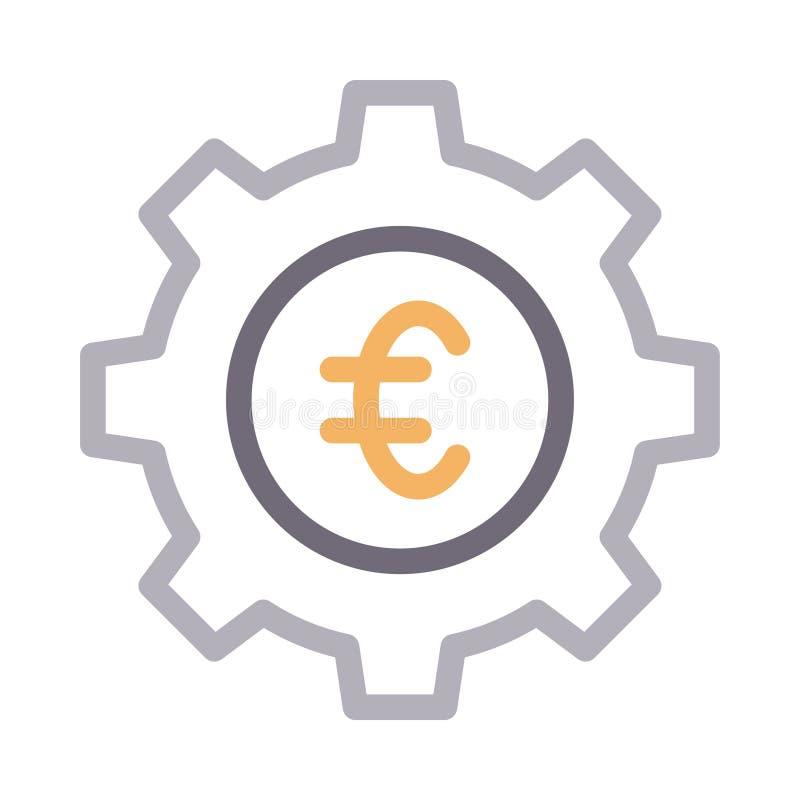 Ställa in den tunna färglinjen vektorsymbol för euro vektor illustrationer