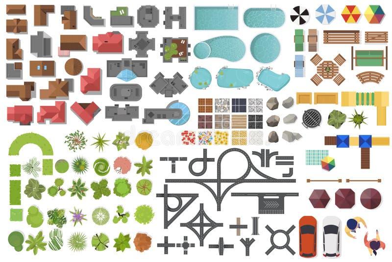 Ställa in element i liggande, översta vyn Hus, trädgård, träd, sjö, simbassänger, bänk, väg, bilar, människor Placera symboler vektor illustrationer