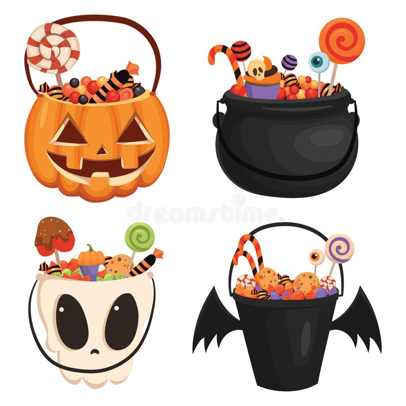 Ställa in Halloween-hinkar med olika former fulla av sötsaker Insamling av kolonpåsar för uppsamling av godis för Halloween royaltyfri illustrationer