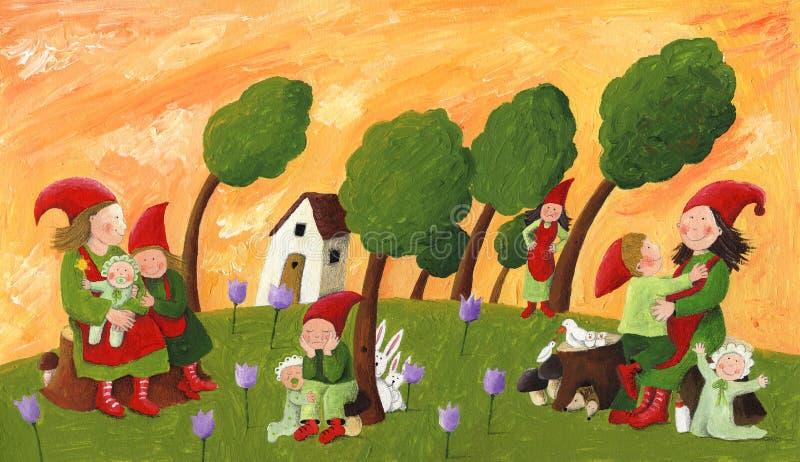 Ställa i skuggan - mödrar och barn stock illustrationer
