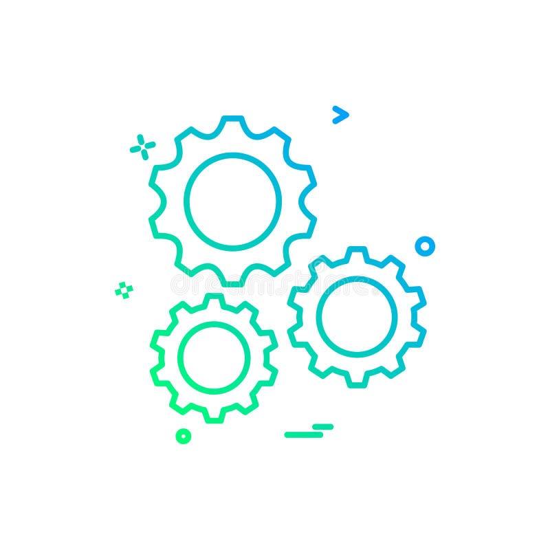 ställa in kugghjulet bearbetar symbolsvektordesign vektor illustrationer