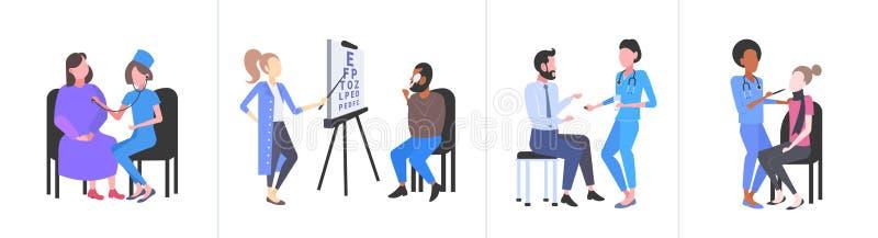Ställa in läkare som granskar patienter med olika medicinska konsultationer och vårdbegrepp som samlas in helt och hållet vektor illustrationer