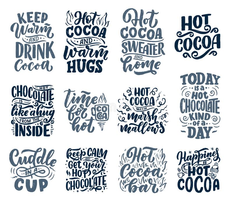 Ställa in med citattecken om varm kakao och varm choklad för affischer eller utskrifter Handdragna julmärken för kafé, bar och vektor illustrationer
