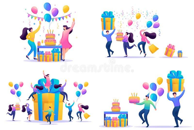 Ställa in platta koncept Fira födelsedagsfest med vänner Årsdagen med glada, roliga 2D-tecken stock illustrationer