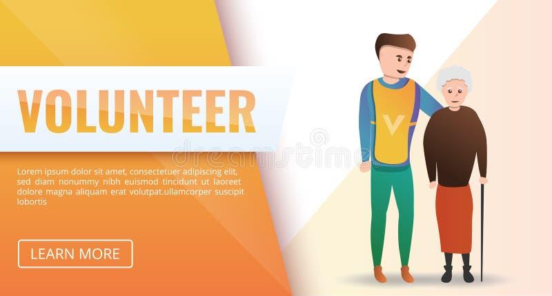 Ställa upp som frivillig det hjälpande begreppsbanret, tecknad filmstil vektor illustrationer