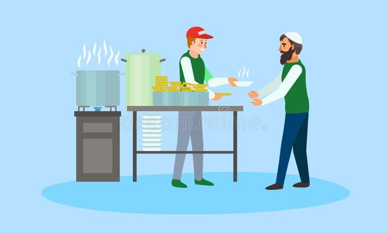 Ställa upp som frivillig mat för flyttande begreppsbaner, plan stil royaltyfri illustrationer