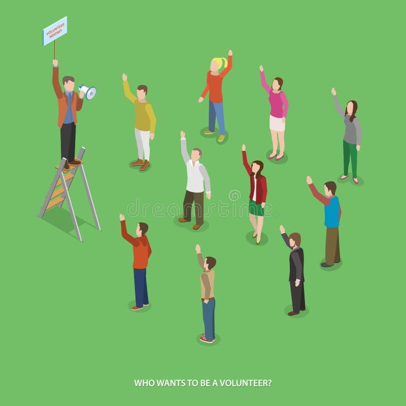 Ställa upp som frivillig plant isometriskt vektorbegrepp royaltyfri illustrationer