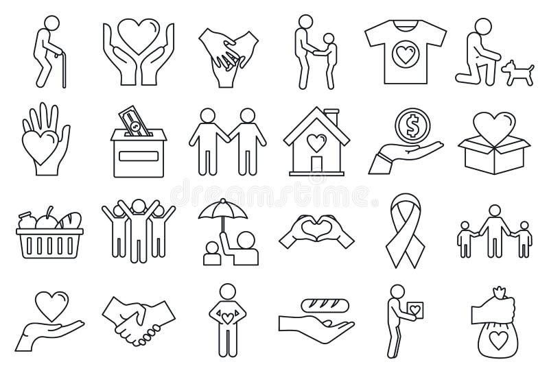 Ställa upp som frivillig välgörenhetsymbolsuppsättningen, översiktsstil stock illustrationer