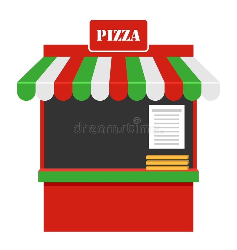Ställa ut av Sale av pizza, stallen, den isolerade marknadsplatsen vektor illustrationer