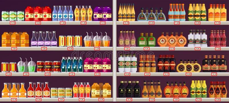 Ställa ut eller stanna med drinkar, och alkohol på shoppar royaltyfri illustrationer